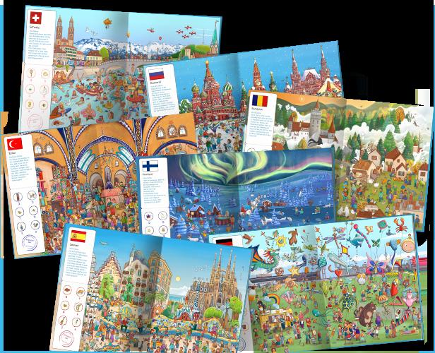 Una selección de imágenes del interior de nuestro libro Mi viaje alrededor de Europa