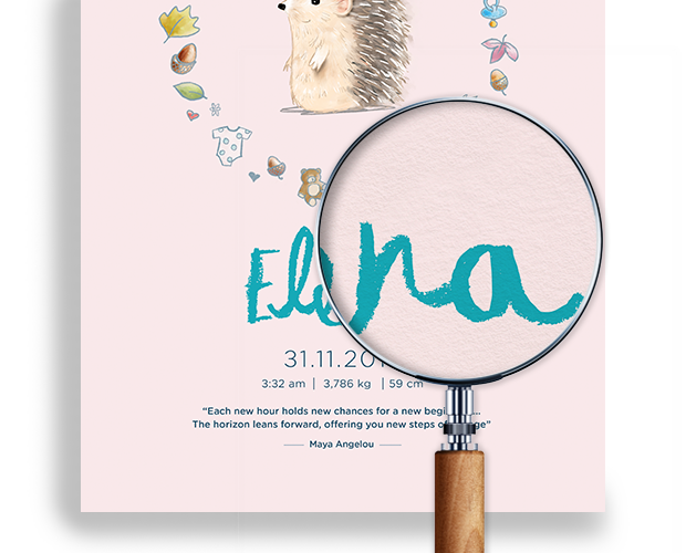 Magnifying glass showing a closeup of our baby poster in pink for Elena
