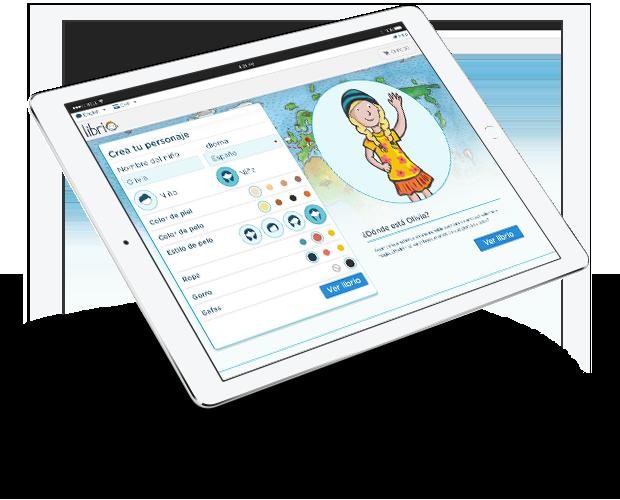 Imagen de la pantalla de un ipad en la que se personaliza el libro Mi viaje alrededor del mundo