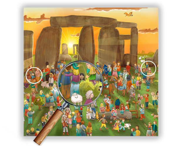 Image showing our illustration of Stonehenge and how it looks in the product