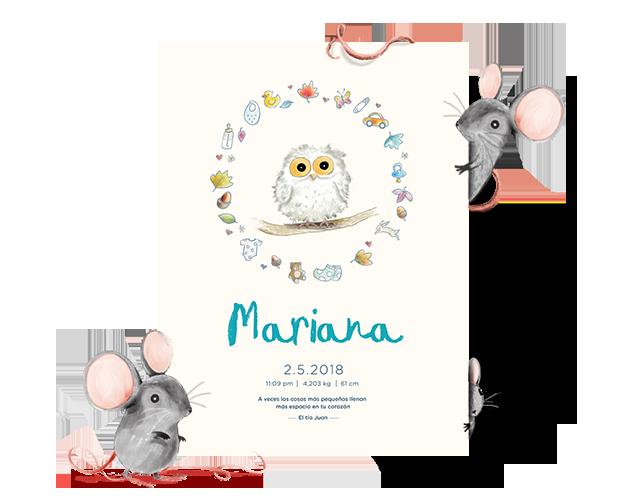 Una lámina de bebé personalizada con el nombre Mariana. Enmarcado por dos ratones.