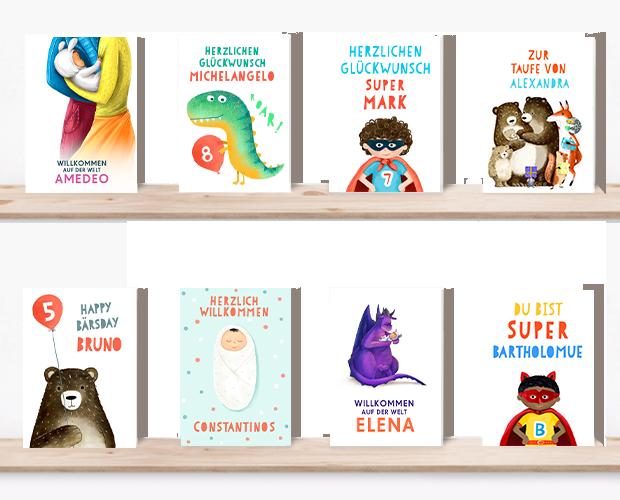 Alle personalisierte Grußkarten aufgereiht (Eltern, Dino, Superheld, Bären, Baby, Drache)
