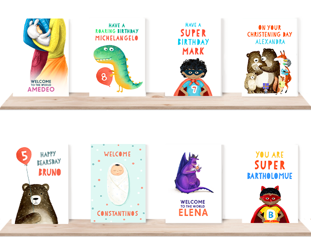 an overview of all of our new personalisable greeting cards