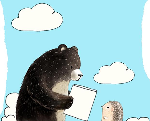 Bear handing hedgehog a book