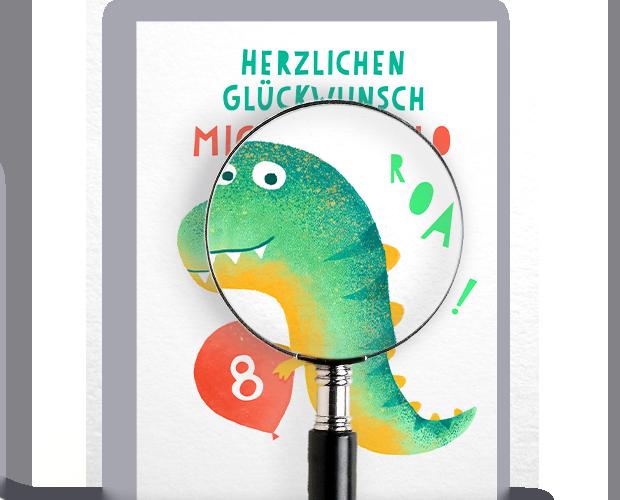 Personalisierte Glückwunschkarte mit Drachen und Ballon mit Alter des Kindes