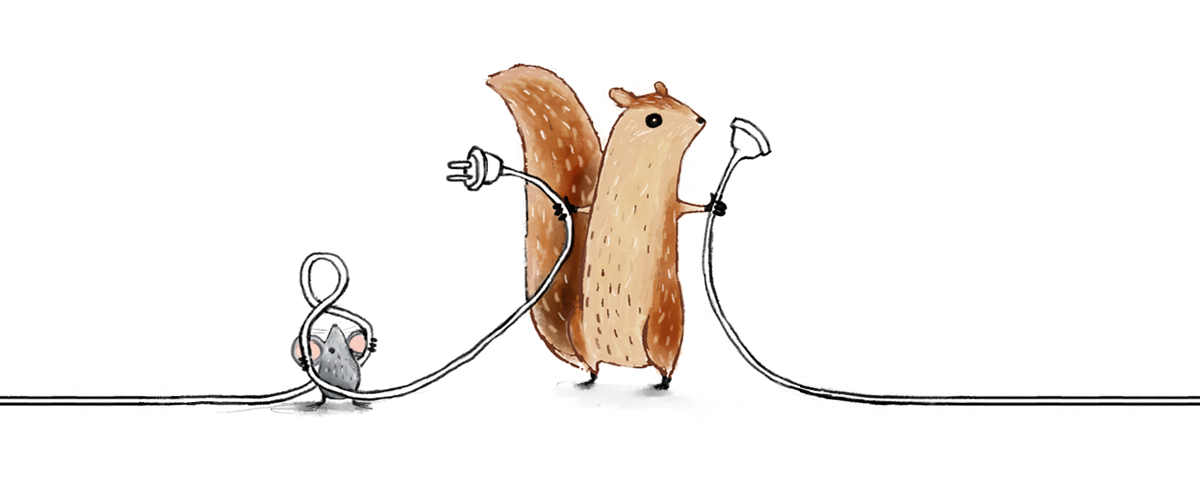 A mouse and a squirrel with an unplugged electrical cord in their hands