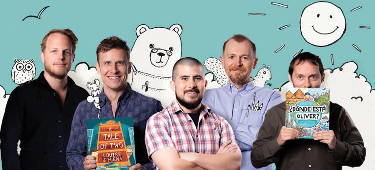 Foto de grupo de los fundadores de Librio: Tim, Ed, Mark, Nick y Oliver