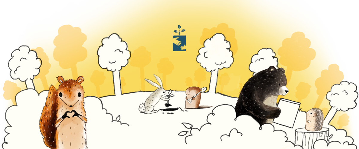 Squirrel doing heart hands, Rabbit and beaver planting a tree, bear giving hedgehog a book