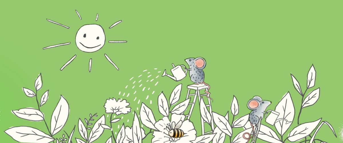 Ratones regando plantas