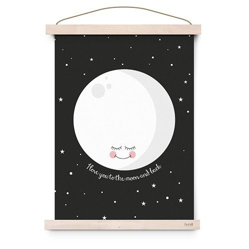 "Poster ""I love you to the moon and back"" zwart – Eef Lillemor"