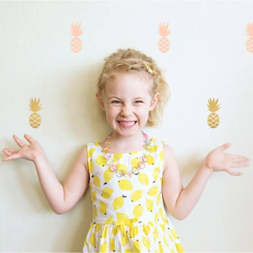 Muurstickers ananas roze-goud – Pöm