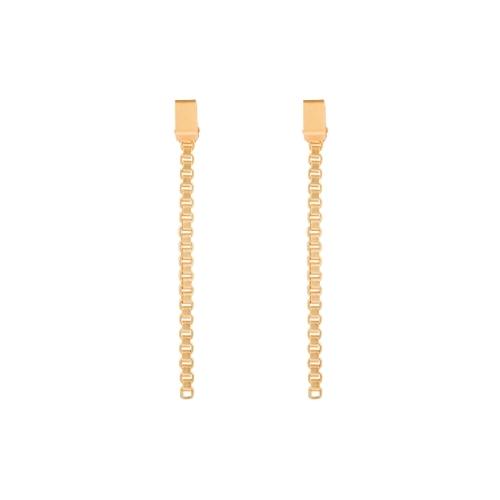 Verguld - Box Chains - studs, lange oorbellen