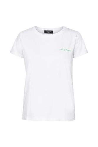 Tshirt, met quote - wit met groen opschrift