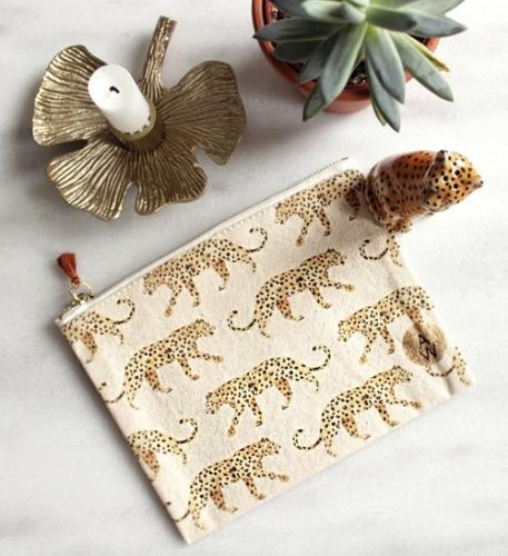 Clutch Leopard - bio katoen - handgeschilderd