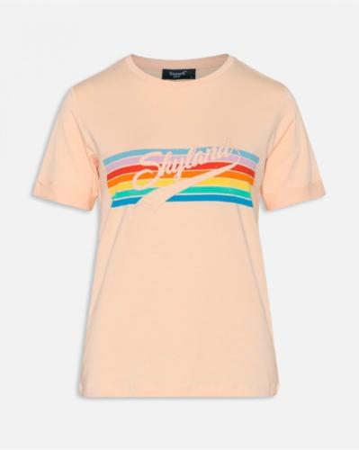 Tshirt met leuke print - regenboog & peach