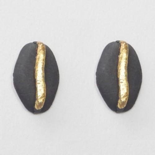 JUWEEL | Oorbellen boon zwart/goud