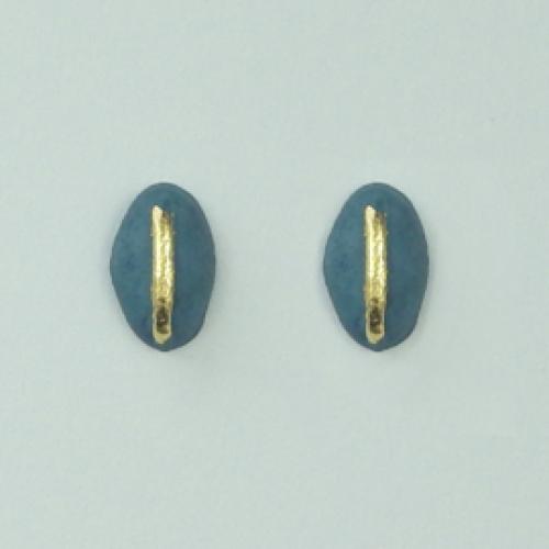 JUWEEL   Oorbellen boon blauw/goud