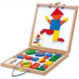Houten koffer met houten magneten 'geometrische figuren'