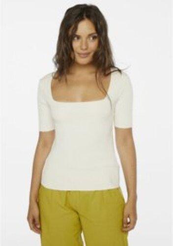Compania Fantastica - White ribbed jersey top