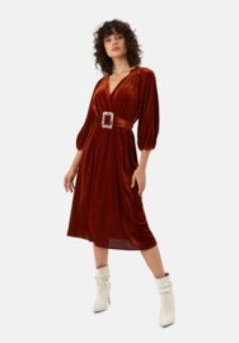 Traffic People - Belt up dress brown rib velvet