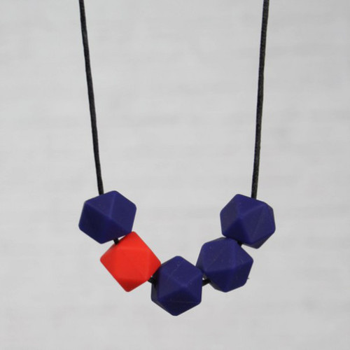 HALSKETTING SILICONE koningsblauw + rood