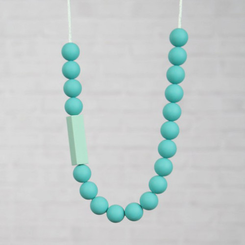 HALSKETTING SILICONE turquoise met balkje munt