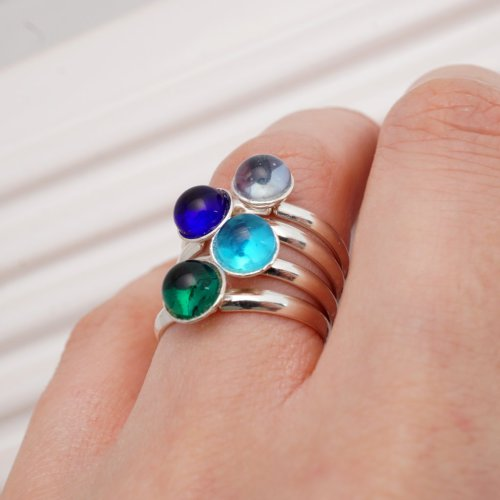 Elegante Ringen in Glas en Zilver