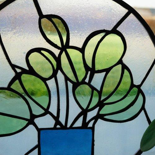 Glas-in-loodraam Pilea / Pannenkoekenplant