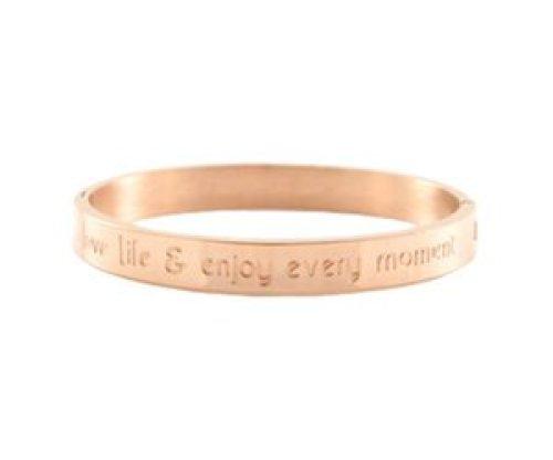 Armband RVS 'love life & enjoy every moment' rose goudkleurig