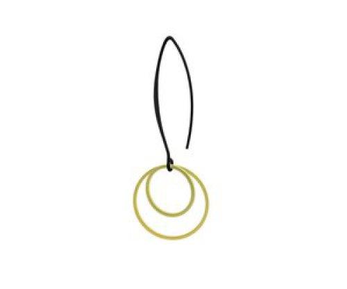 oorbEllen mix&match mat goud cirkels dubbel lange hanger zwart