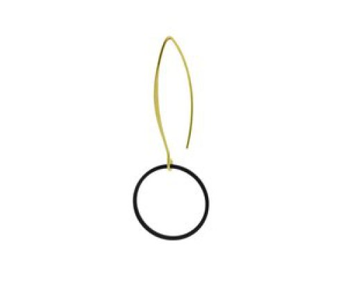 oorbEllen mix&match mat zwart cirkel groot lange hanger goud