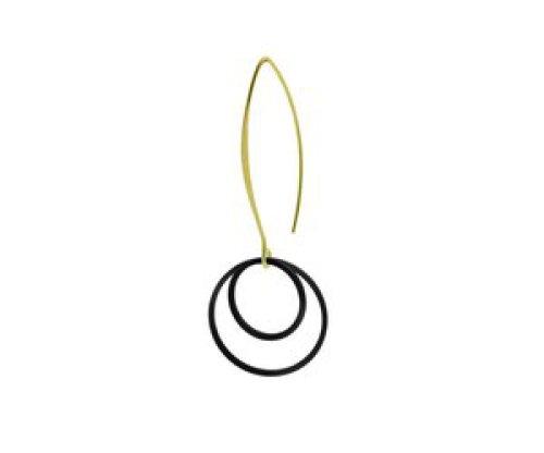 oorbEllen mix&match mat zwart cirkels dubbel lange hanger goud