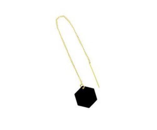 oorbEllen mix&match zeshoekje zwart doortrekker goud
