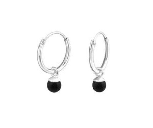 Ringetjes zilver parel zwart