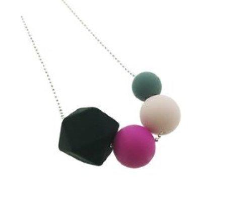 Siliconen ketting met bolletjesketting zeshoek - 3 bollen
