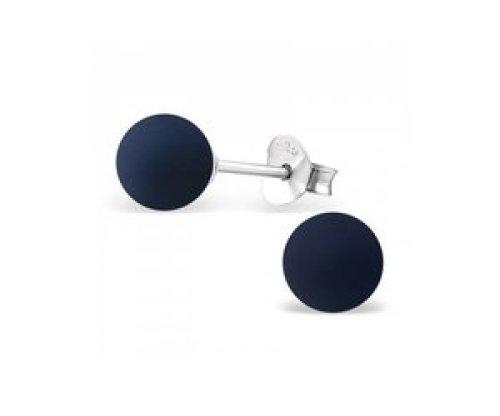 Stekertjes zilver bolletje donkerblauw
