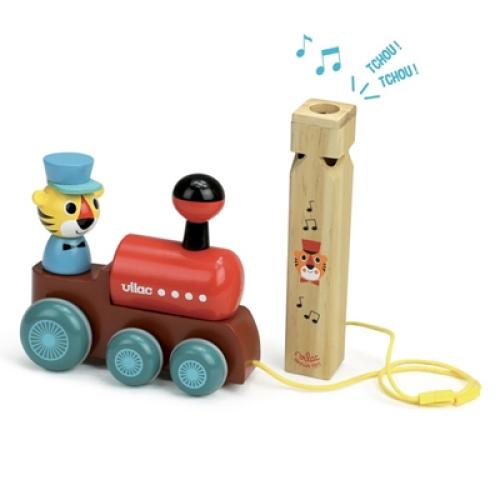 Houten Trekspeeltje Locomotief met Treinfluitje