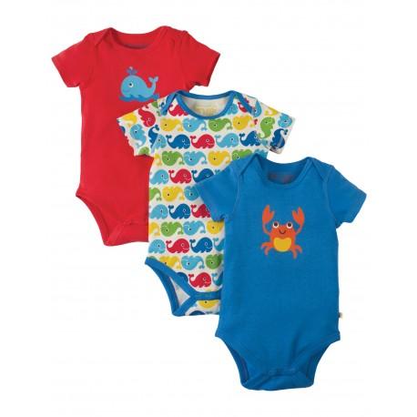 Frugi baby romper set met 3 baby rompertjes