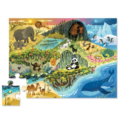 Crocodile Creek vloerpuzzel - Waar dieren wonen  24 stuks vanaf 2j - www.kidsdinge.com