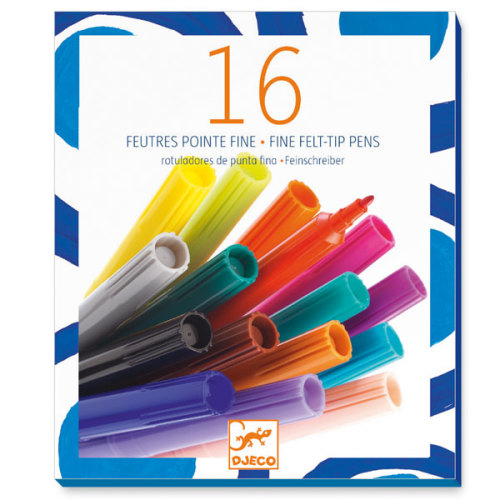 Djeco 16 fijne viltstiften - www.kidsdinge.com