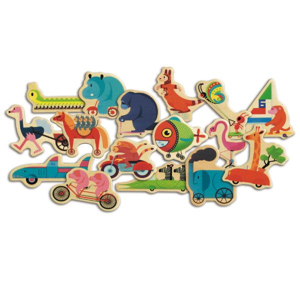 Djeco 24 magneten voertuigen dieren 2j