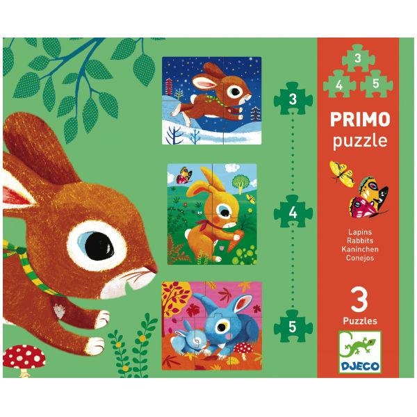 Djeco 3 konijn puzzels Primo 2j - Kidsdinge - Cadeautjes voor kids & jezelf
