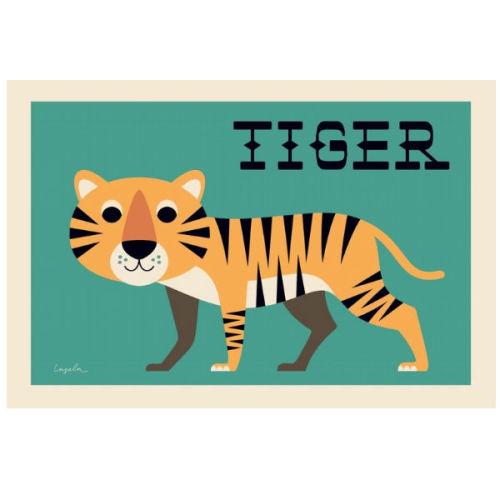 Ingela nieuwsgierige tijger poster 50x70-  www.kidsdinge.com