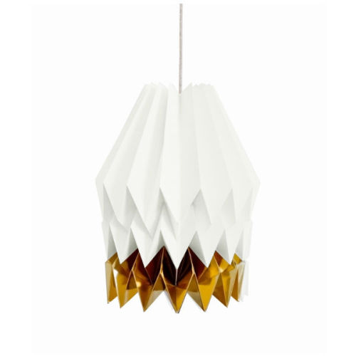 Origami lamp wit goud XL