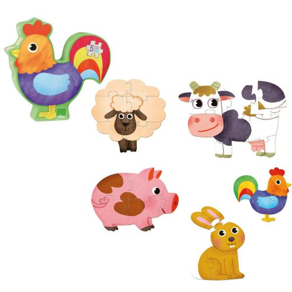 Vilac set 5 houten boerderij puzzels 2j - Kidsdinge - Cadeautjes voor kids & jezelf