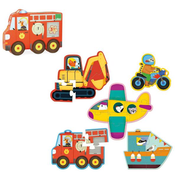 Vilac set 5 houten voertuigen puzzels 2j - Kidsdinge - Cadeautjes voor kids & jezelf