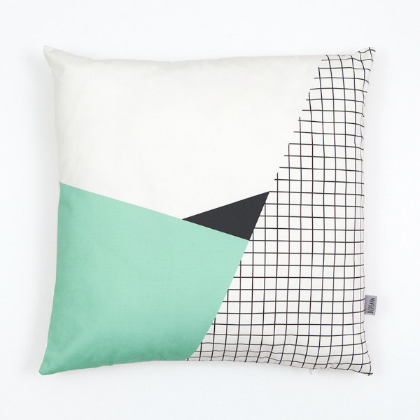Kussenhoes geometrische en mint pastel prints 50x50