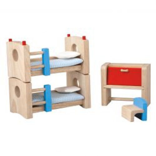 Kinderkamer voor houten poppenhuis