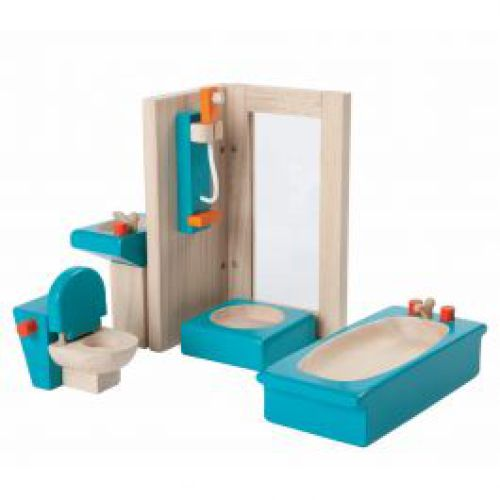 Badkamer van hout voor poppenhuis