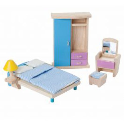 Houten slaapkamer voor poppenhuis